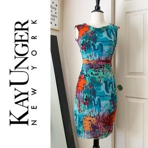 Kay Unger Colorful Bodycon Dress XS